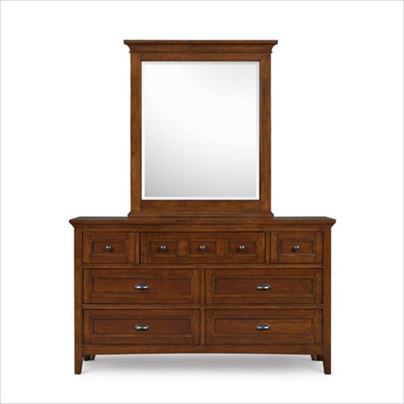Riley 7 Drawer Dresser and Mirror Set in Cherry