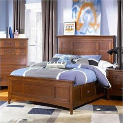 Magnussen Riley Panel Bed With Regular Rail and Storage in Cherry - Twin