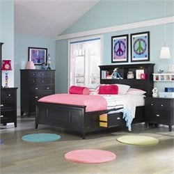 Magnussen Bennett Bookcase Bed With 2 Storage Rails in Black - Full