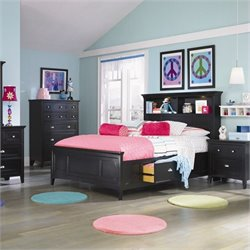 Magnussen Bennett Bookcase Bed With 2 Storage Rails in Black - Twin