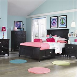 Magnussen Bennett Panel Bed With Regular Rail and Storage in Black - Full Size with 2 Drawers