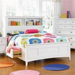 Magnussen Kenley Bookcase Bed With 2 Storage Rails in White - Full