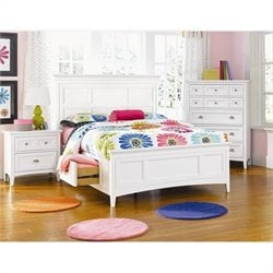 Magnussen Kenley Panel Bed With Regular Rail and Storage in White - Twin