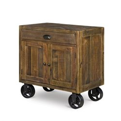 Magnussen River Ridge Wood Door Nightstand with Casters in Natural