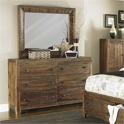 Magnussen River Ridge Wood 6 Drawer Dresser Mirror Set