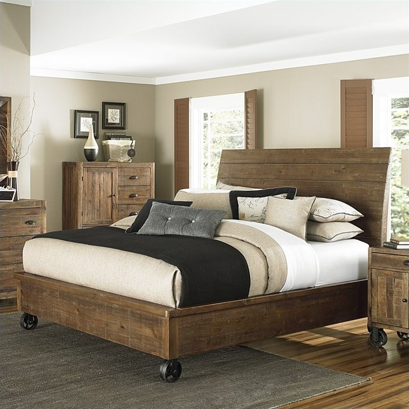 River Ridge Wood Island Bed with Casters in Natural