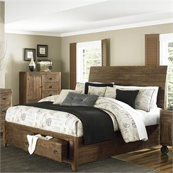 Magnussen River Ridge Wood Island Storage Bed in Natural - Queen