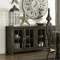 Magnussen Karlin Wood Buffet Curio in Grey Acacia
