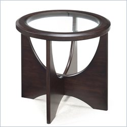 Magnussen Okani Wood Oval End Table in Merlot