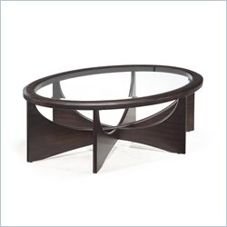 Magnussen Okani Wood Oval Coffee Table in Merlot