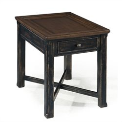 Magnussen Clanton Wood Rectangular End Table in Antique Black