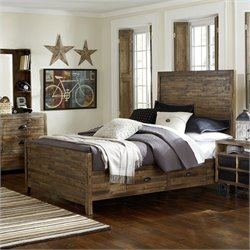 Magnussen Braxton Wood Panel Bed with Storage in Natural - Twin