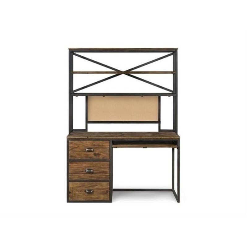 Magnussen Braxton Wood Desk with Hutch in Natural