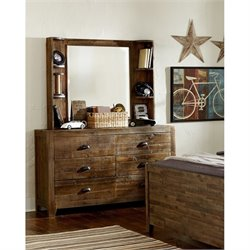 Magnussen Braxton Wood 6 Drawer Dresser and Mirror Set