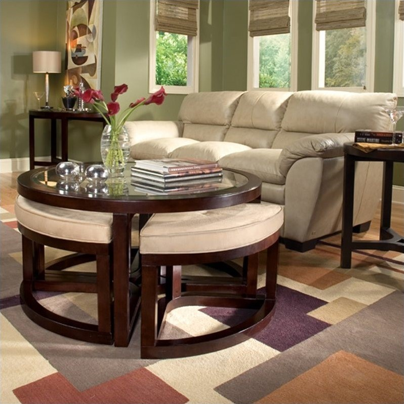 Juniper 3 Piece Accent Table Set with Seating in Mink