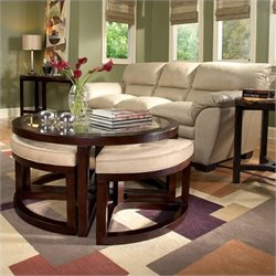 Magnussen Juniper 3 Piece Accent Table Set with Seating in Mink and Brown