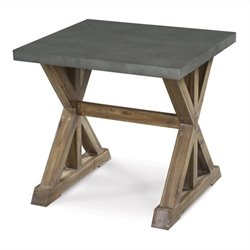 Magnussen Lybrook Rectangular End Table in Zinc and Antique Natural