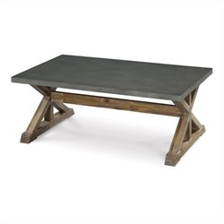 Magnussen Lybrook Rectangular Cocktail Table in Aged Zinc and Natural