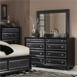 Magnussen Oynx Dresser and Landscape Mirror in High Gloss Black