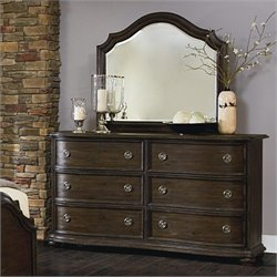 Magnussen Muirfield Dresser and Landscape Mirror in Distressed Pine