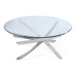 Magnussen Zila Round Cocktail Table in Brushed Nickel