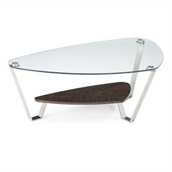 Magnussen Pollock Cocktail Table in Brushed Nickel and Walnut