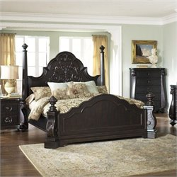 Magnussen Vellasca Poster Bed in Antique Ebony - Queen