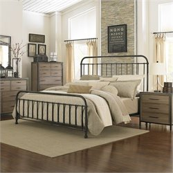 Magnussen Shady Grove Bed in Antiqued Natural and Gun Metal - Queen
