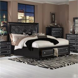Magnussen OnyxIsland Bed with Storage in Black - Queen