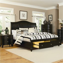 Magnussen Wilkesboro Panel Bed with Storage in Antique Black - Queen