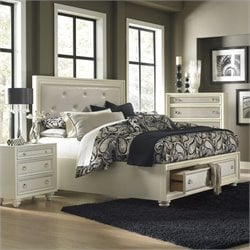 Magnussen Diamond Island Bed with Storage in High Gloss White - Queen
