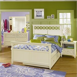 Magnussen Cameron Panel Bed with Trundle in Off White