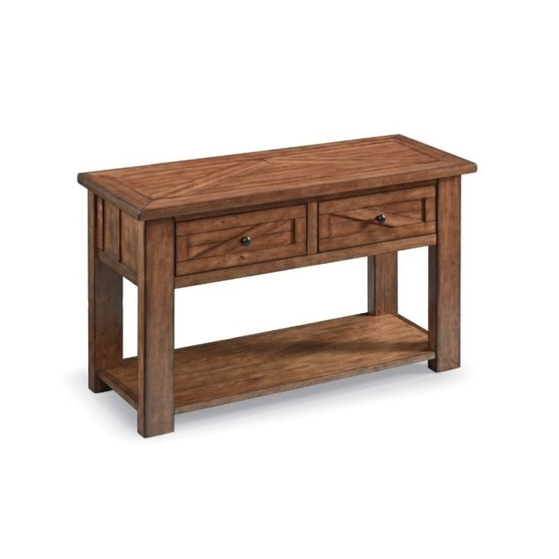 Magnussen harper farm 2 drawer console table in warm pine t3269 73 - Pine sofa table with drawers ...
