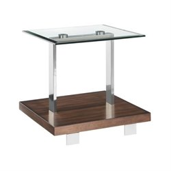 Magnussen Modern Loft End Table in Brushed Nickel