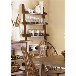 Liberty Furniture Farmhouse 5 Shelf Leaning Bookcase in Weathered Oak