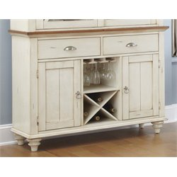 Ocean Isle Wine Rack Buffet in Bisque with Natural Pine