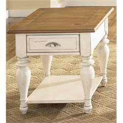 Liberty Furniture Ocean Isle End Table in Bisque with Natural Pine