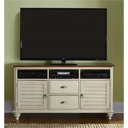 Ocean Isle TV Stand in Bisque with Natural Pine