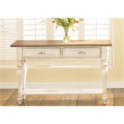 Liberty Furniture Ocean Isle Console Table in Bisque with Natural Pine