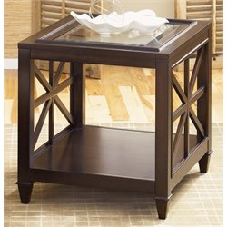 Liberty Furniture Caroline Glass Top End Table in Espresso Stain