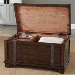 Liberty Furniture Aspen Skies Storage Trunk Coffee Table in Russet