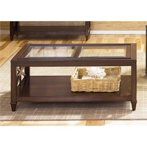 Liberty Furniture Caroline Glass Top Coffee Table in Espresso Stain