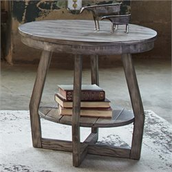 Liberty Furniture Hayden Way Round End Table in Gray Wash