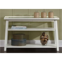 Liberty Furniture Summerhill Glass Top Console Table in Linen