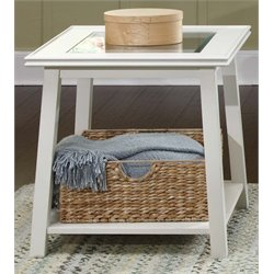 Liberty Furniture Summerhill Glass Top End Table in Linen