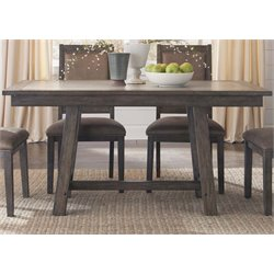 Liberty Furniture Stone Brook Trestle Dining Table in Rustic Saddle