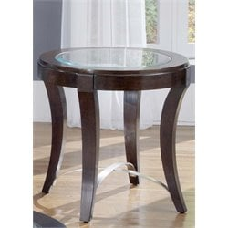 Liberty Furniture Avalon Oval Glass Top End Table in Dark Truffle