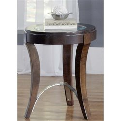 Liberty Furniture Avalon Glass Top Side Table in Dark Truffle