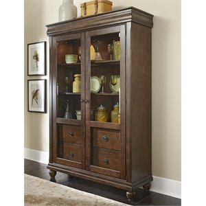 Liberty Furniture Rustic Traditions Curio Cabinet in Rustic Cherry