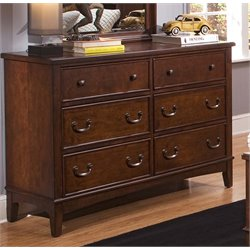 Chelsea Square 6 Drawer Double Dresser in Burnished Tobacco